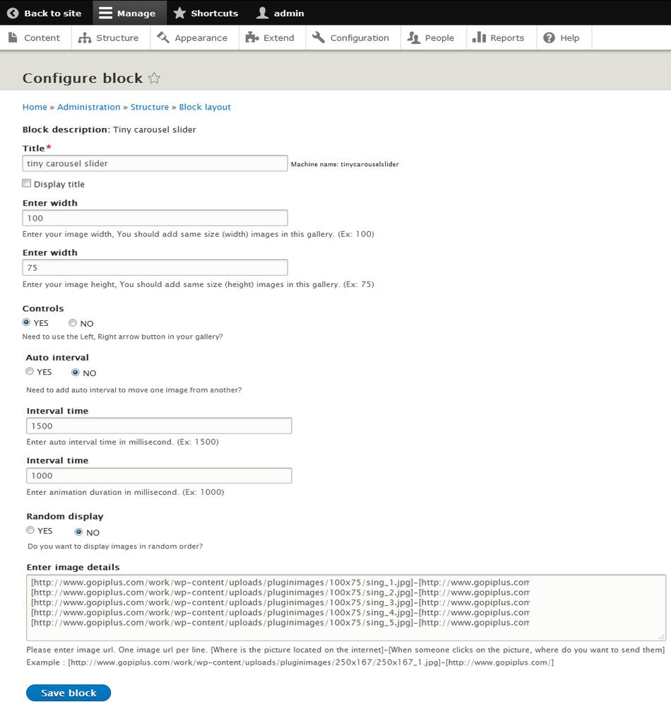Drupal module tiny carousel slider block configure