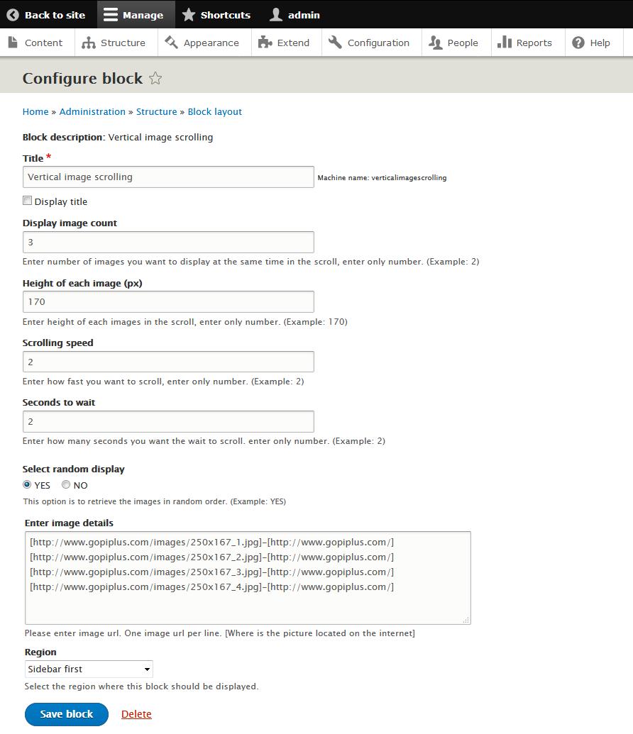 vertical image scrolling drupal module block configure