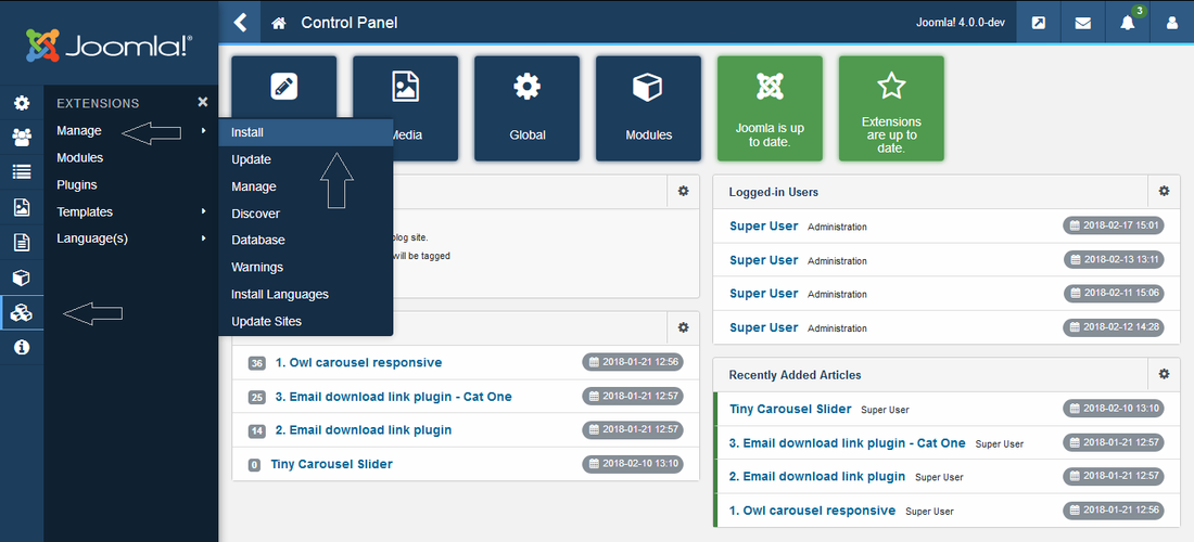 Joomla menu for extensions module