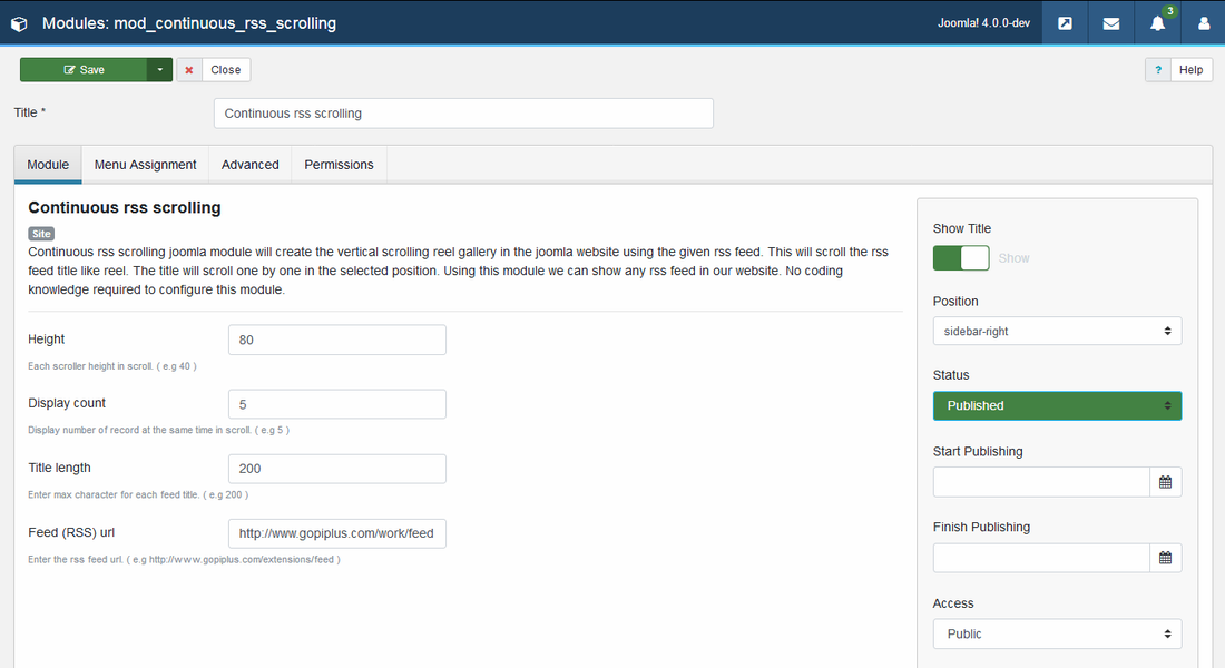 Continuous rss scrolling joomla module