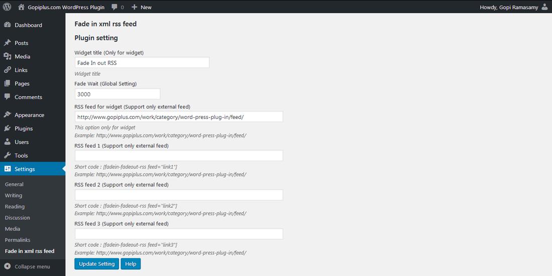 Fade in xml rss feed WordPress plugin