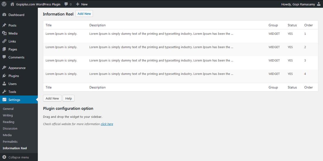 Information Reel WordPress plugin
