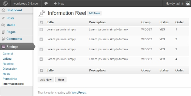 Information Reel wordpress plugin admin screen