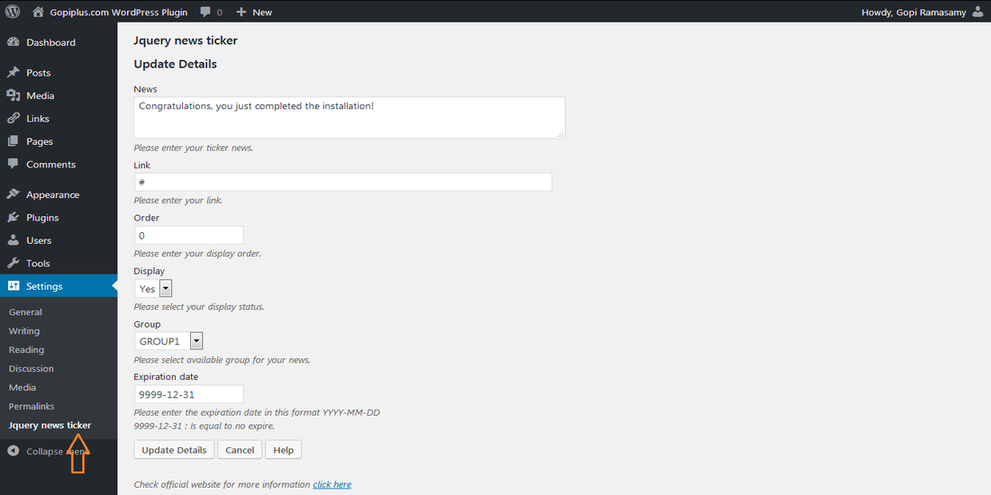 Jquery News Ticker Wordpress Plugin