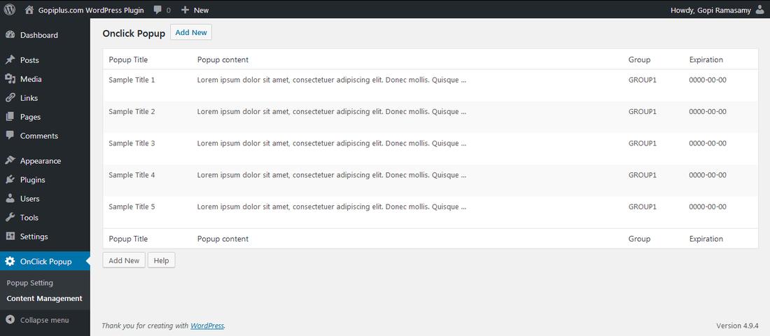 Onclick Popup WordPress plugin