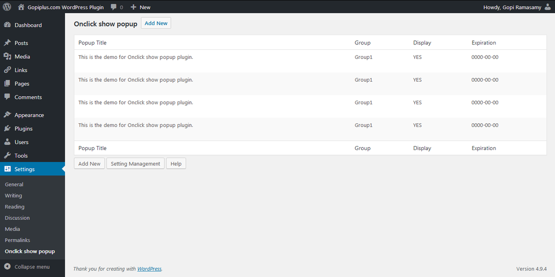 Onclick show popup WordPress plugin