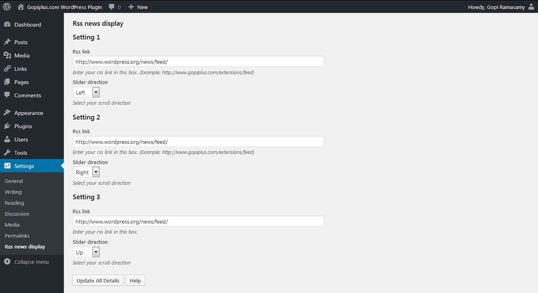 Rss news display WordPress plugin