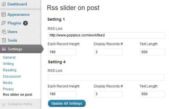 RSS slider on post