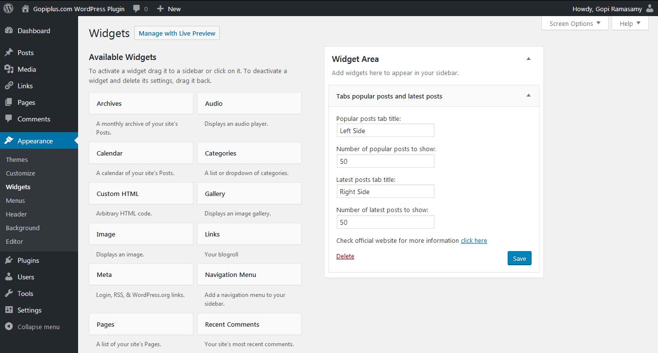 Tabs widget popular posts and latest posts WordPress plugin