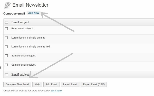 Email newsletter compose email