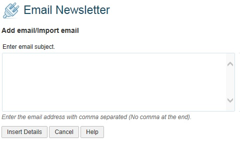 Email newsletter Import email address