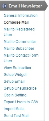 Email newsletter menu