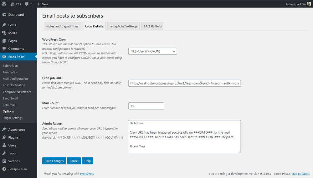 Cron Details for Email posts to subscribers plugin