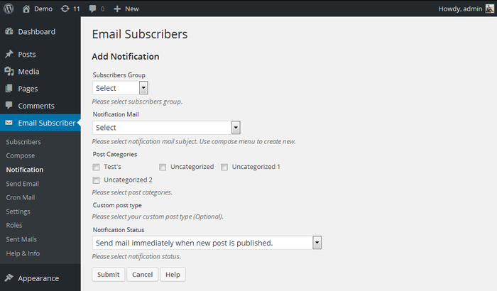 Email subscribers wordpress plugin add notifications settings