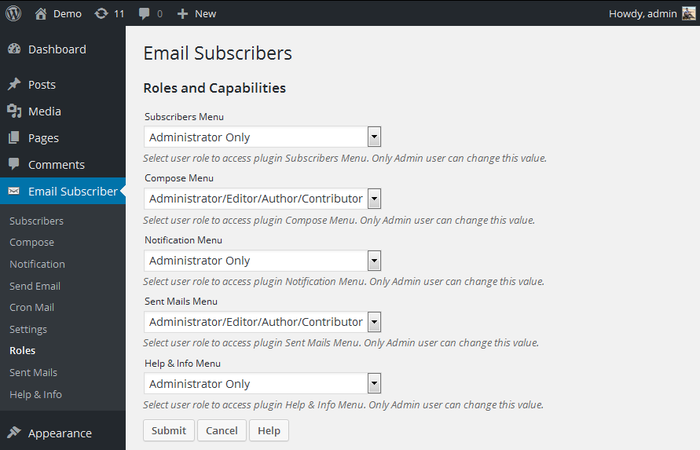 Email subscribers wordpress plugin roles and capabilities